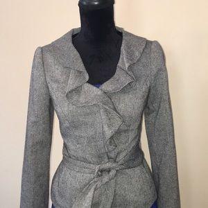 The Limited tweed ruffle blazer w/ tie belt sz XS